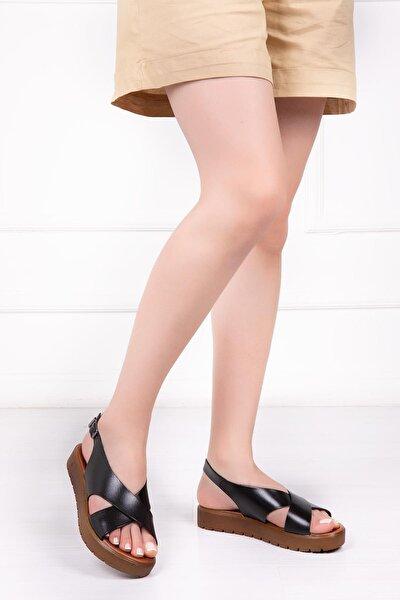 Hakiki Deri Siyah Kadın Deri Sandalet Dp-1069
