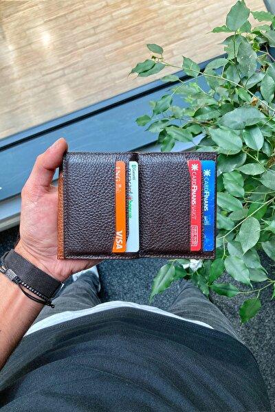 Hakiki Deri Kartlık - Para Bölmeli / Kahverengi