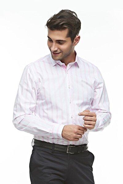 Uzun Kollu Çizgili Erkek Gömlek Pembe-beyaz