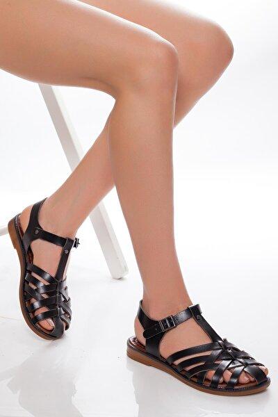 Hakiki Deri Siyah Kadın Deri Sandalet Rma-3081
