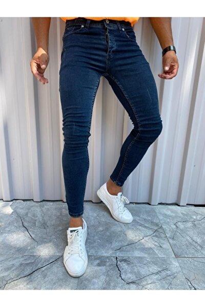 Erkek Mavi Italyan Kesim Likralı Denim Kot Pantolon