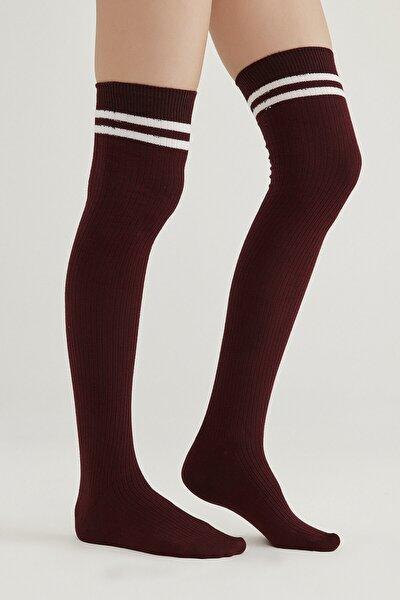 Bordo Sportive Diz Üstü Çorap
