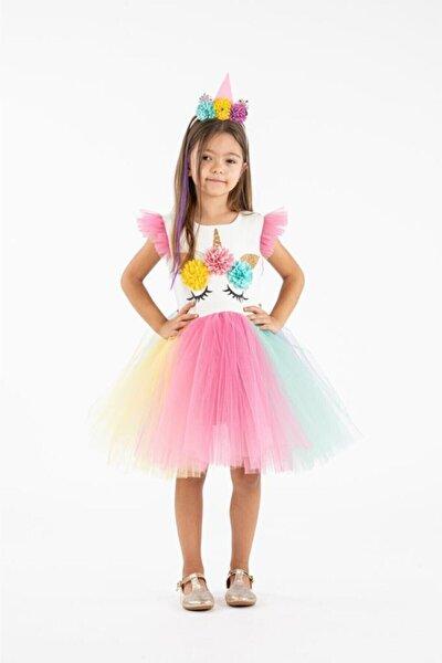 Kız Çocuk Pembe Taçlı Unicorn Parti Elbisesi