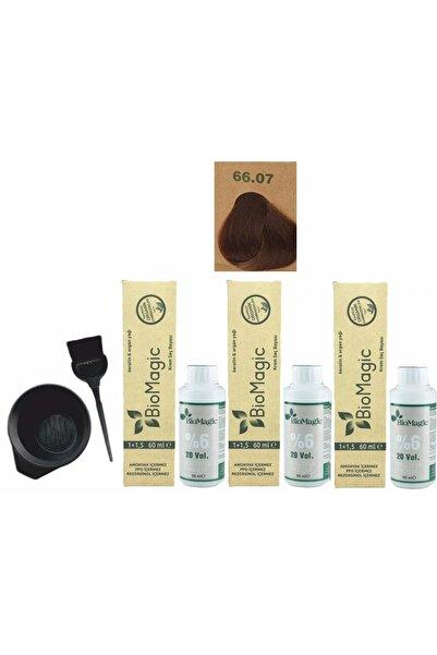Organik Saç Boyası 66.07 Çikolata Kahve 60ml X3 Adet+oksidan 90ml+boyama Seti