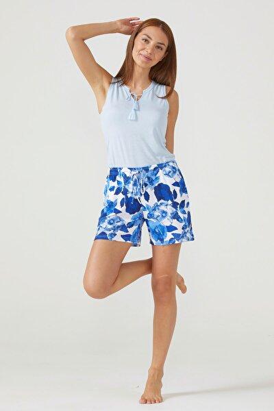 Kadın Şortlu Pijama Takım - Mavi