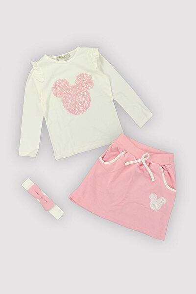4 Mevsim Kız Çocuk Penye Mouse Çizim Fırfır Kol Etekli Bandanalı Üçlü Takım 12364