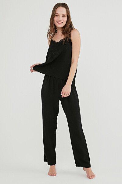Kadın Siyah Dark Aura Atlet Pantalon Pijama Set