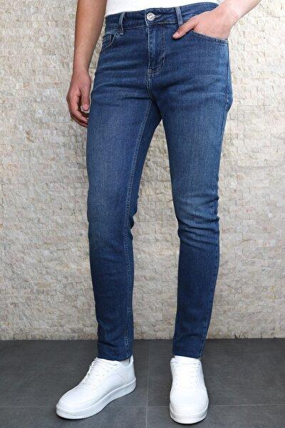 Collezıone Keven Koyu Mavi Taşlamalı Slim Fit Kot Pantolon