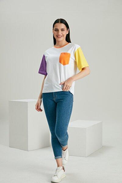 Kadın Beyaz Kısa Kolu Bloklu Tshirt