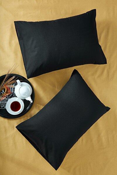 %100 Pamuklu Siyah Iki Adet 50x70 Yastık Kılıfı