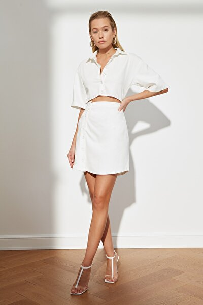 Ekru Bel Detaylı Düğmeli Elbise TWOSS21EL1780