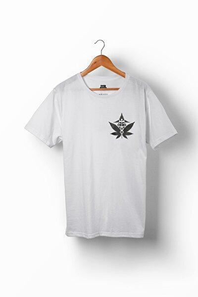 Unisex Beyaz Baskılı %100 Pamuk T-shirt