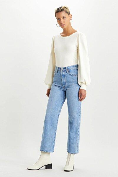 Kadın Mavi Yüksek Bel Pamuklu Ribcage Jeans Kot Pantolon 72693