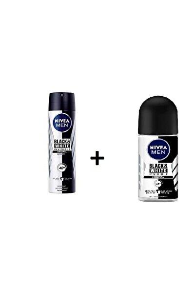 Men Black White Invısıble Orıgınal Deodorant + Men Black White Invısıble Roll-on