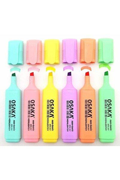 Pastel Renk Fosforlu Kalem 6'lı Set
