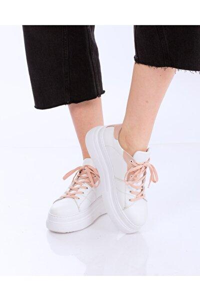 Nötron Beyaz Deri & Pudra Deri Sneakers