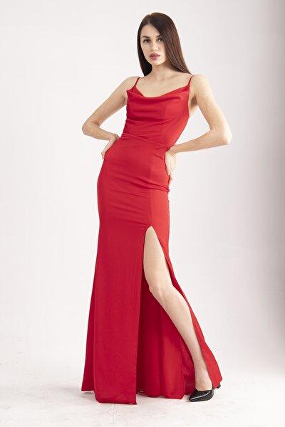 Kırmızı Ip Askılı Degaje Yaka Saten Abiye&mezuniyet Elbisesi 1607223