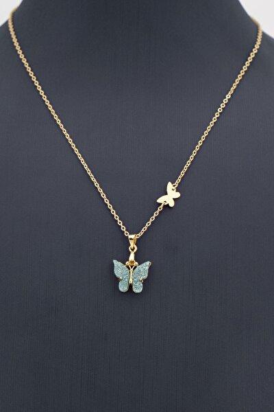 Kelebek Figürlü Renkli Kolye 001