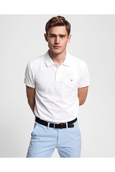 Erkek Beyaz Slim Fit Pique Polo
