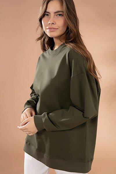 Kadın Haki Basic Uzun Kollu Oversize Sweatshirt P20W-4420