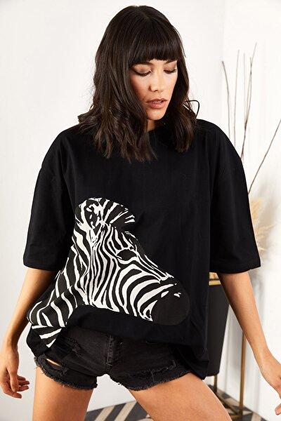 Kadın Siyah Zebra Boyfriend T-shirt