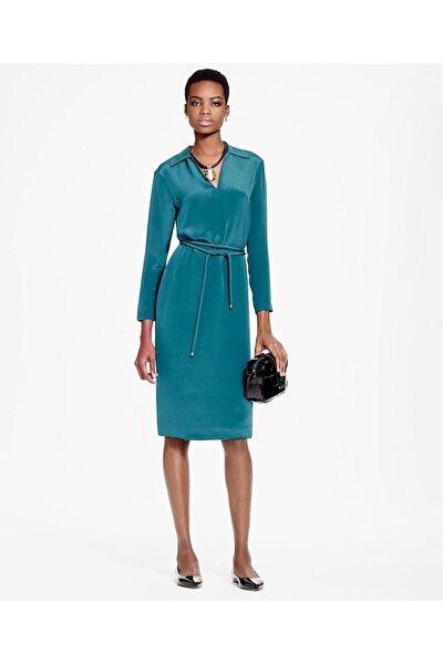 Kadın Mavi V Yaka Uzun Kollu Ipek Elbise