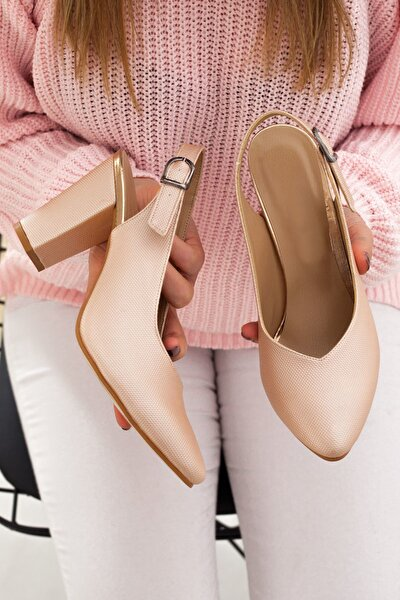 Pudra Yüksek Topuk Tokalı Kadın Günlük Sandalet • A182yakt0017