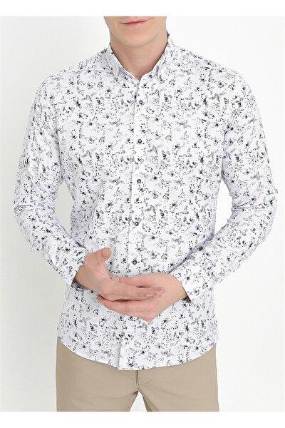 G 1413 Slim Fit Lacivert-beyaz Spor Gömlek
