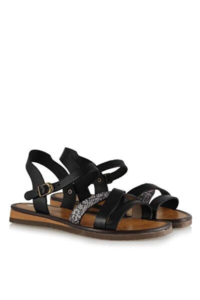 Büyük Numara Kadın Sandalet Hakiki Deri Siyah 41-42-43-44 Numara