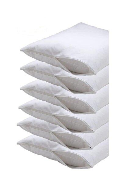 Beyaz 6'lı Paket 50x70 Kapitoneli Yastık Koruyucu Alez