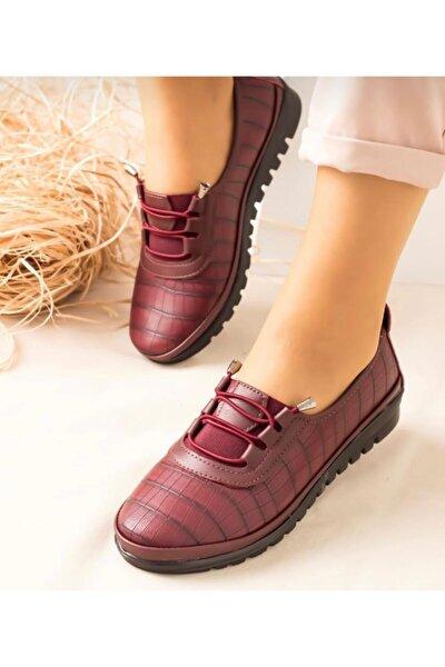 Kadın Bordo Babet Ayakkabı