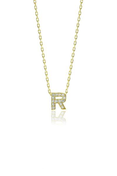 Gümüş  Altın Yaldızlı Üç Boyutlu Minimal R Gümüş Harf Kolye