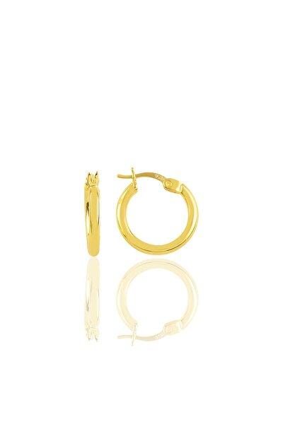 Kadın Gümüş Altın Yaldızlı 16 mm Şarnel Halka Küpe