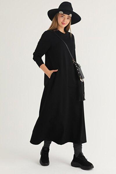Kadın Siyah Büyük Beden Cepli Elbise