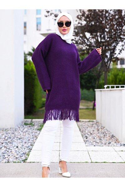 Kadın Mor Püsküllü Uzun Triko Tunik