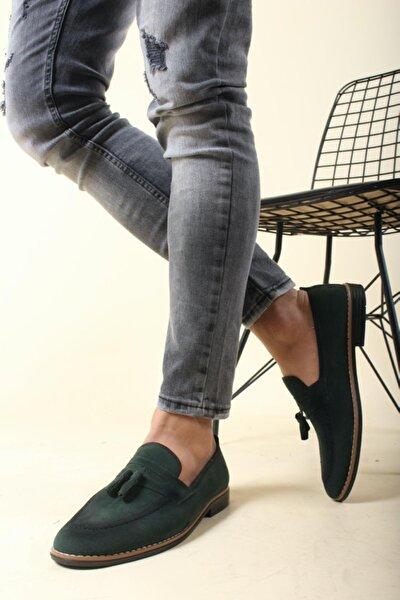 Erkek Yeşil Püskülü Loafer Ayakkabı