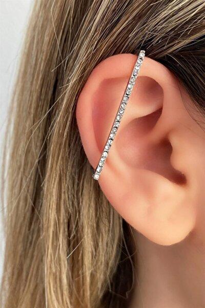 Gümüş Renk Dikdörtgen Taşlı Ear Cuff