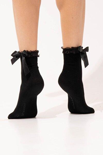 Kadın Fiyonk Detaylı Çorap - Siyah