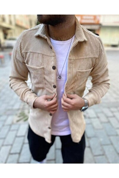 Erkek Bej Kadife Cepli Outdoor Basic Oduncu Gömlek