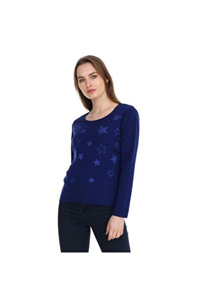 Kristal Taş Hotfix Yıldız Işlemeli Bluz Italyan Yün