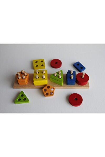 Geometrik Şekilli 5'li Geçmeli Oyuncak Puzzle Eğitici Oyun Çoçuk Gelişimi