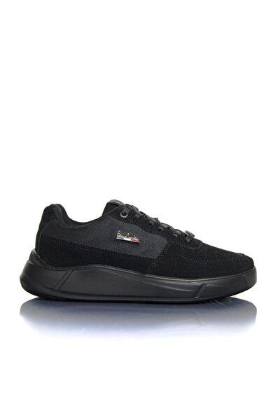 Erkek Siyah Deri Tozu Vegan Süet Bağcıklı Günlük Klasik Spor Ayakkabı -pce3002