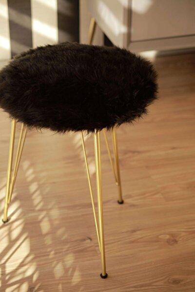Milano Siyah Peluş Puf Gold Ayaklı Puf Rpp9094