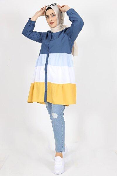 Kadın Lacivert Terikoton Kumaş Gömlek Tunik 7101