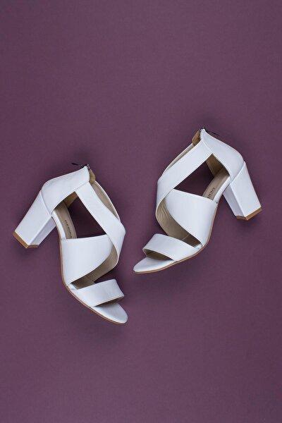 Hakiki Deri Beyaz Kadın Topuklu Deri Ayakkabı Shn-0315