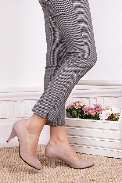 Hakiki Deri Vizon Kadın Topuklu Deri Ayakkabı Trc-0301