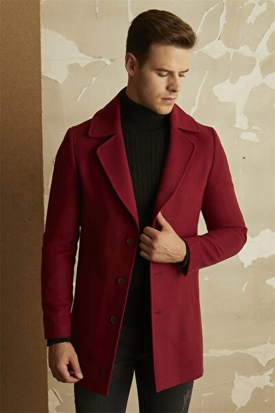 Erkek Bordo Slim Fit Klasik Palto Plt 063