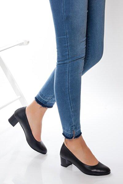 Hakiki Deri Siyah Kadın Topuklu Deri Ayakkabı Shn-0057