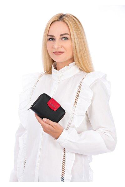 Kadın Siyah Kırmızı Cüzdan