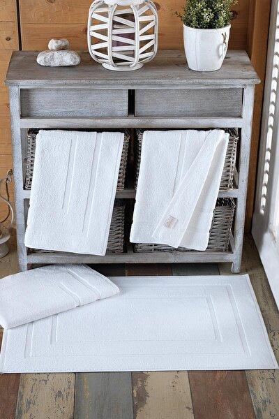 4 Adet Odelia Serisi Ayak Havlu 50x70 250gr Beyaz